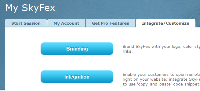 SkyFex Remote Desktop links to branding and integration